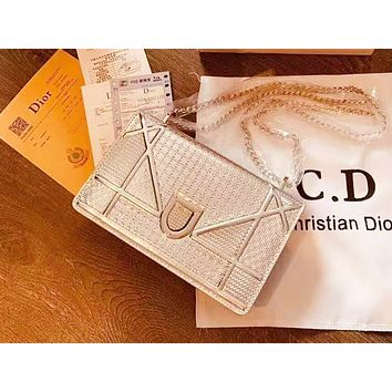 DIOR fashion ladies' pure color patent leather shoulder bag hot seller of casual shopping bag Silvery
