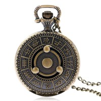 Vintage Anime Naruto Sharingan Compass Quartz Pocket Watch Antique Style Cosplay Necklace Pendant Clock Long Chain Gift Bag
