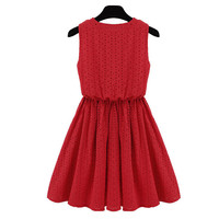 Openwork Embroidery Thin High Waist Pleated Red Dress