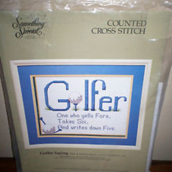 Vintage Something Special Counted Cross Stitch Golfer Theme Picture Kit No 50447
