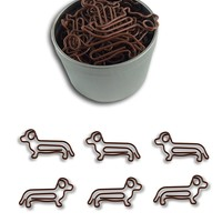 Dog Dachshund Shaped Paper Clips 50 Count in Tin