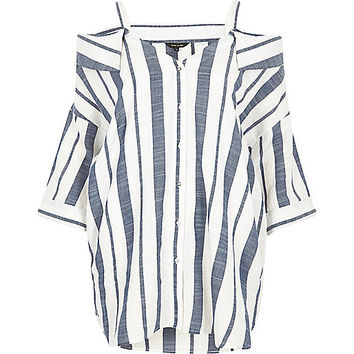 Navy stripe cold shoulder shirt