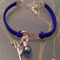 Royal Blue Suede with a Charm and Bead Bracelet - Cheerleader, Dance, Key, Tree of Life, Owl, etc.