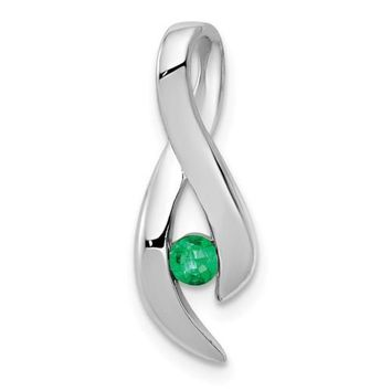 14k White Gold 3mm Emerald Infinity Inspired Pendant