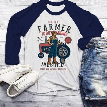 Men's Funny Farmer Shirt Best In Field TShirt 3/4 Sleeve Raglan Farming Gift Idea Vintage Farming Graphic Tee