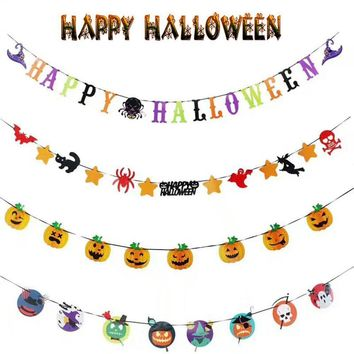 LanLan Halloween Paper Garland Decoration Pumpkin Vampire Cat Doll Hanging Banner Bunting Party Decoration Props