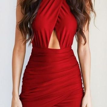 New Women Red Cut Out Ruffle Round Neck Fashion Mini Dress