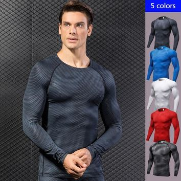 2018 New High Elastic Men's T-shirts Long Sleeve Running T shirt Men Qucik Dry  Muscular Man Sport Shirt Men Cool Mens Rashgard