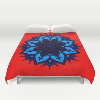 Kids Mandala Orange Duvet Cover by Azima