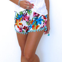 Pom Pom Shorts - White Bambi Print with Pale Blue or White Pom Pom Trim - lightweight chiffon