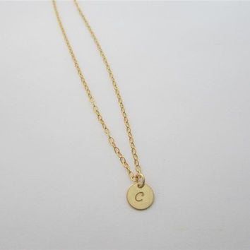 Tiny Initial Charm Necklace, Gold Pendant, Personalized Hand Stamped Necklace