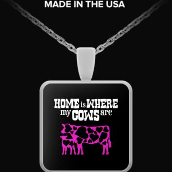 Home Is Where My Cows Are Square Necklace cownecklace