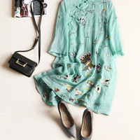 Linen Embroidery Dress Women Peacock Mandarin Collar Three Quarter Sleeve Above Knee Dresses For Women Green Dresses Summer