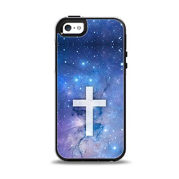 The Vector White Cross v2 over Space Nebula Apple iPhone 5-5s Otterbox Symmetry Case Skin Set