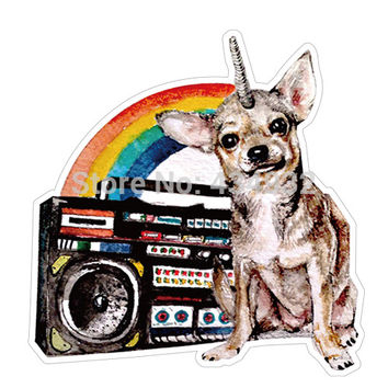 Min.order is $10(mix order)Sound Rainbow Chihuahua waterproof suitcase stickers luggage stickers tide brand stickers[single]