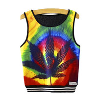 Psychedelic Abstract art hemp weed leaf Print Crop Top funny sexy women Cropped