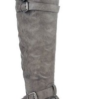 Vickie-16H Buckle Slouchy Thigh High Boot Grey