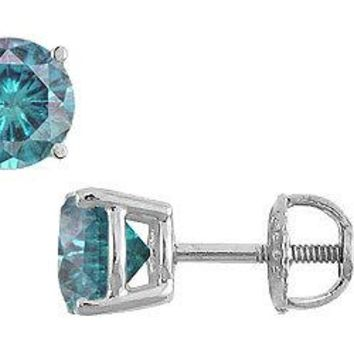 Blue Diamond Stud Earrings : 14K White Gold - 2.00 CT Diamonds