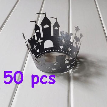 Stencil black castle Cupcake Wrappers princess castle laser cut wrapper fairytale  wraps collars black lace wrapper halloween cake wrapper