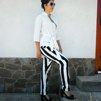 Black and White Stripes Trousers/ Everyday Pants/Low waist Pants / Sport Trousers/  Casual Fashion Pants by moShic P001