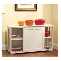 Stylish Stackable Cabinet With Sliding Door Home Furniture Antique White Finish