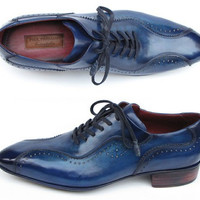 Paul Parkman Handmade Lace-Up Casual Shoes for Men Blue