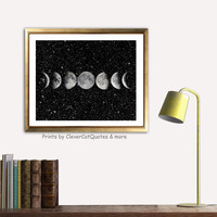 Moon phases print Moon poster Space print Stars print  Digital  print Moon art  Modern moon art Illustration Download Wall decor For him