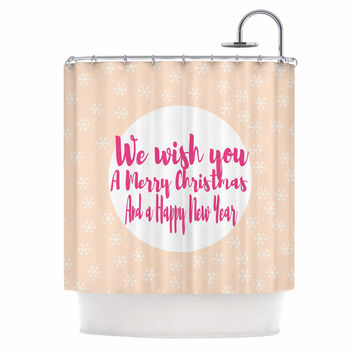 "Suzanne Carter ""Merry Chistmas & Happy New Year"" Peach Pink Shower Curtain"