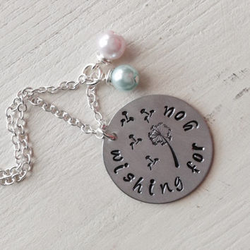 Infertility, Adoption, Foster Care, Wishing For You, Hand Stamped, Aluminum, Glass Pearl, Dandelion, Dandelion Fluff, Necklace
