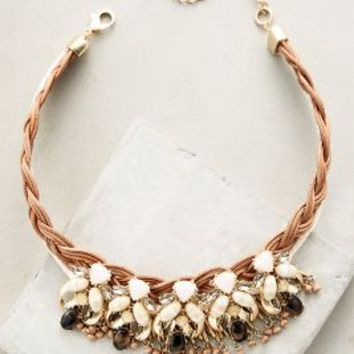 Braided Blooms Bib Necklace by Anthropologie in Ivory Size: One Size Necklaces