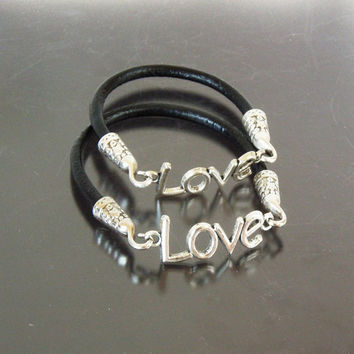 His and Her  Leather Silver Love Charm Bracelet