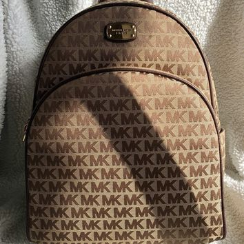 Michael Kors MK -Abbey Large Backpack Purse Bag Tote Beige Brown - New with Tags