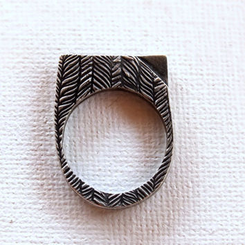 Fine silver ring, geometric ring, square ring, 6 1/2, statement ring, textured ring, art ring, modern ring, abstract, organic, ooak,