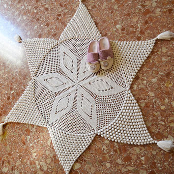 white crocheted carpet, star rug, snowflakes, christmas decoration, crochet rug rag