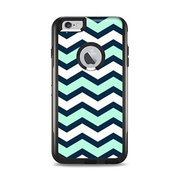 The Teal & Blue Wide Chevron Pattern Apple iPhone 6 Plus Otterbox Commuter Case Skin Set