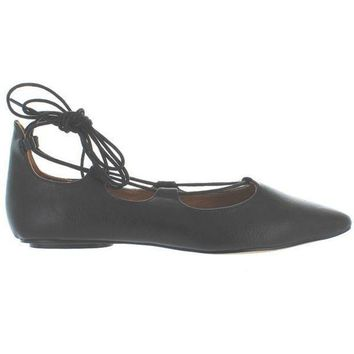 Chelsea Crew Gigi   Black Fancy Lace Up Ballet Flat