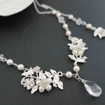 Pearl Bridal Necklace, Back Drop Bridal Necklace, Pearl Wedding Jewelry, Leaf Wedding Necklace Crystal Bridal Jewelry Art Deco Floral Dainty