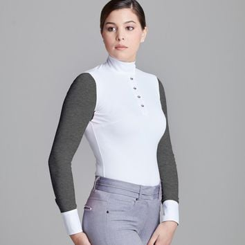 Le Fash White w Heather Charcoal Paulo Alto Long Sleeve