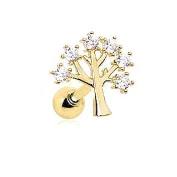 Gold Jeweled Tree of Life Cartilage Earring
