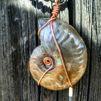 Opalized Ammonite Fossil Wire Wrapped with Copper on Hematite Necklace Reversable