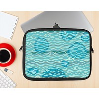The Blue Abstarct Cells with Fish Water Illustration Ink-Fuzed NeoPrene MacBook Laptop Sleeve