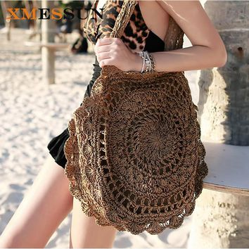XMESSUN 2018 Bohemian Straw Bags for Women Big Circle Beach Handbags Summer Vintage Rattan Bag Handmade Kintted Travel Bags C78