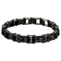 Greek God - Black Stainless Steel Greek Key Inlay Reversible Bracelet
