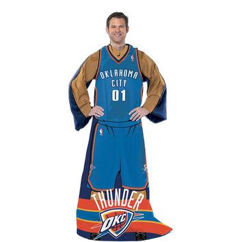 Oklahoma City Thunder NBA Adult Uniform Comfy Throw Blanket w- Sleeves