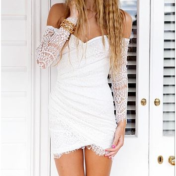 Irregular Strapless Lace Up Boat Neck Backless Mini Dress