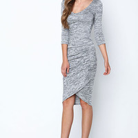 TWO TONE KNIT WRAP DRESS