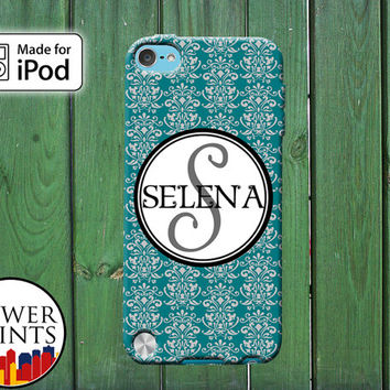 Teal Blue Damask Pattern Cursive Fancy Cute Custom Monogram for iPod Touch 4th Generation and iPod Touch 5th Generation Gen Plastic Rubber