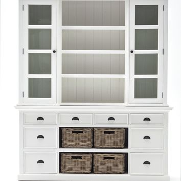 Halifax Library Hutch with basket set White semi-gloss