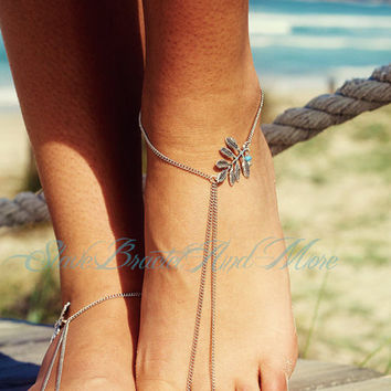 Shiny Jewelry Stylish Cute Gift Ladies Sexy New Arrival Accessory Vintage Simple Design Style Metal Leaf Water Droplets Turquoise Tassels Anklet [6768790599]