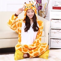 onsie Cartoon adult giraffe jumpsuit animal Onesuits flannel animal pajamas one piece cosplay womens adult giraffe Onesuit mujer